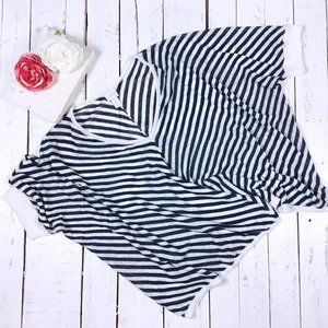 Chico's blue and white short sleeve knit top XL